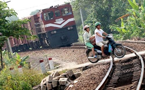 Đường ngang dân sinh tự mở qua đường sắt gây mất an toàn giao thông (ảnh: Internet)