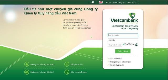Giao diện trang web giả mạo ngân hàng Vietcombank