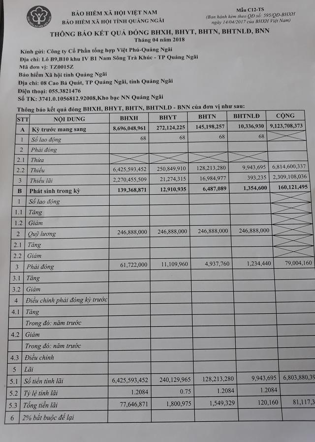 Công ty CP tổng hợp Việt Phú nợ BHXH tỉnh Quảng Ngãi hơn 9 tỷ đồng
