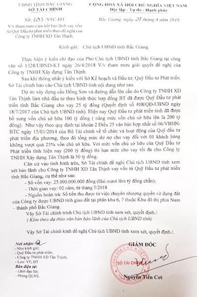 Tuy nhiên, việc UBND tỉnh Bắc Giang bảo lãnh cho doanh nghiệp vay hàng chục tỷ tại Quỹ đầu tư phát triển tỉnh Bắc Giang khiến dư luận đặt ra nhiều câu hỏi.