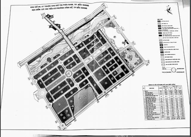 Bản đồ quy hoạch khu đất 46ha mà trong đó có 14,25 ha đất ở phân lô bán nền tại khu đô thị phía nam TP Bắc Giang mà Công ty TNHH Tân Thịnh sẽ được đối ứng khi thực hiện dự án BT nghìn tỷ.