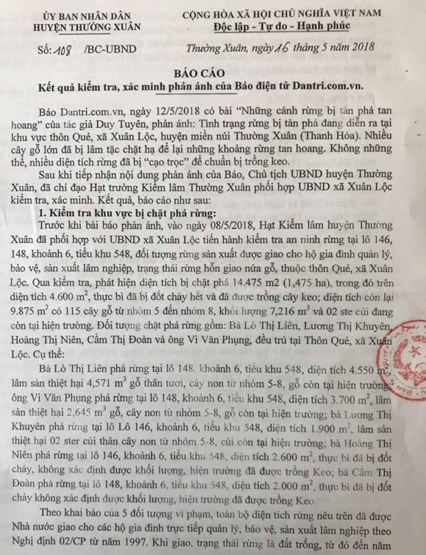 Công văn trả lời của huyện Thường Xuân gửi báo điện tử Dân trí