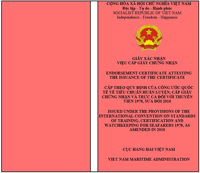 Phân loại giấy chứng nhận khả năng chuyên môn, chứng chỉ chuyên môn thuyền viên, người lái tàu