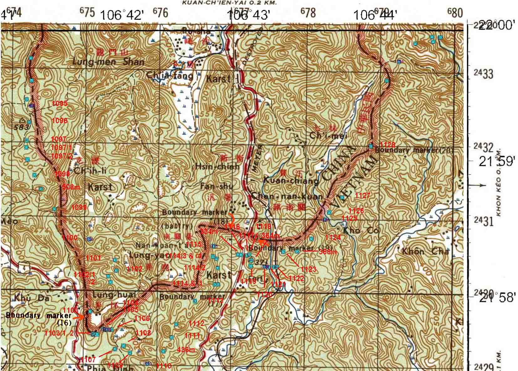 Diện tích trung bình một mảnh bản đồ địa hình trong hệ tọa độ quốc gia VN-2000